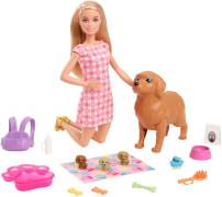 Barbie Puppe (blond) mit Hund und Welpen