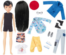 Mattel GGG54 Creatable World Deluxe Charakter Set, individuell gestaltbare Puppe mit schwarzen, glatten Haaren