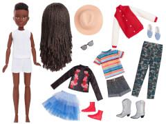 Mattel GGG55 Creatable World Deluxe Charakter Set, individuell gestaltbare Puppe mit schwarzen, geflochtenen Haaren