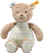 Steiff Teddybär.Rudy 24 hellbraun/blau