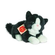 Teddy Hermann Katze liegend, weiß/schwarz, ca. 20 cm