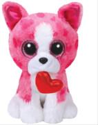 Romeo,Hund pink m. Herz 15cm