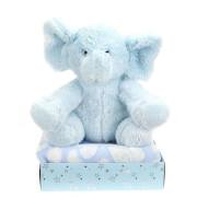 TOITOYS Geburts-Geschenkbox -Plüschelefant Decke -blau