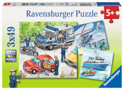 Ravensburger 09221 Puzzle Polizeieinsatz 3 x 49 Teile