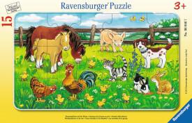 Ravensburger 06046 Rahmenpuzzle Bauernhoftiere auf der Wiese 15 Teile