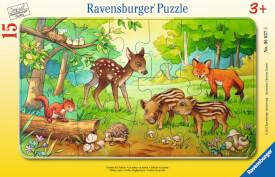 Ravensburger 06376 Rahmenpuzzle Tierkinder des Waldes 15 Teile