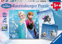 Ravensburger 09264 Puzzle Disney Die Eiskönigin Abenteuer im Winterland 3x49T