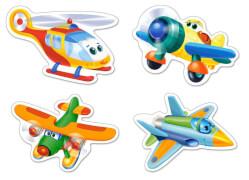 Spielwaren: Funny Planes,4x Puzzle 3+4+6+9 Teile