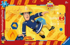 Ravensburger 06125 Rahmenpuzzle Feuerwehrmann Sam in Action 15 Teile
