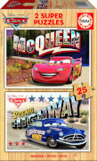 Puzzle mit Holzteilen Disney Cars 2 x 25 Teile