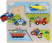 Beeboo Einlegepuzzle Verkehr mit Sound, 6-teilig, ab 12 Monaten
