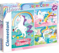 Clementoni Puzzle Unicorns - Einhörner, 3 x 48 Teile