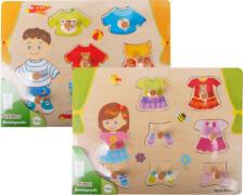 SpielMaus Holz Anziehpuzzle Mädchen und Junge, 5 Teile