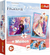 2in1 Puzzles (30 Teile und 48 Teile) + Memo # Disney Frozen 2