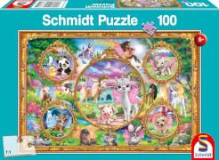 Schmidt Spiele Puzzle Animal Club, Einhorn-Tierwelt, 100 Teile