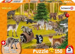 Schmidt Spiele 56406 SCHLEICH Wild Life, Bei den Waschbären, 150 Teile, mit Add-on (eine Original Figur)