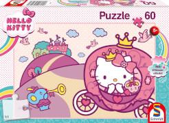 Schmidt Spiele 56407 Hello Kitty GlitzerPuzzle , Prinzessin Kitty, 60 Teile