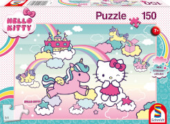 Schmidt Spiele 56408 Hello Kitty GlitzerPuzzle , Kittys Einhorn, 150 Teile