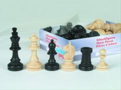 Schachfiguren Ahorn schwarz/natur Königshöhe 72 mm