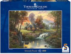 Schmidt Puzzle 58445 Thomas Kinkade, Holzhaus am Bach, 1000 Teile, ab 12 Jahre