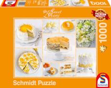 Schmidt Puzzle 59574 Sweet Dreams, Strahlend gelbe Kaffeetafel, 1000 Teile, ab 12 Jahre