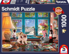 Schmidt Puzzle 58344 Am Puzzletisch, 1000 Teile, ab 12 Jahre