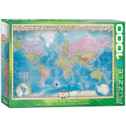 EuroGraphics Puzzle Weltkarte mit Flaggen 1000 Teile