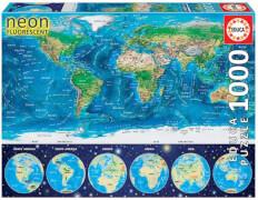 Educa - Neon World Map 1000 Teile