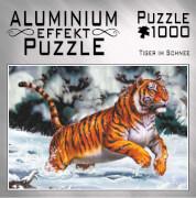 Aluminium Effekt Puzzle 1000 Teile Motiv: Tiger im Schnee