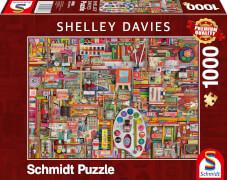 Schmidt Spiele 59698 Puzzle 1000 S.Davies Vintage Knstlermaterialien