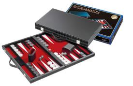 Philos Backgammon Enias medium, rot, Kunstleder