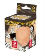 ASS Lederwürfelbecher mit 6 Würfeln in Faltschachtel. Spielezubehör