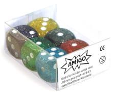 AMIGO 00059 Würfel Glitter W 6 Set gemischt