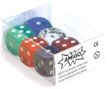 AMIGO 00060 Würfel Transparent W 6 Set gemischt