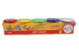 Creathek Knete 4+1, a' 120g, Farben: blau, grün, gelb, rot und weiß, ab 3 Jahren