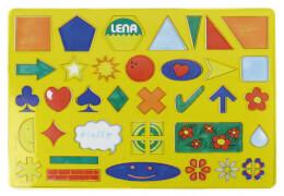 LENA Zeichenschablone (ABC, Zahlen, Zeichen), ca. 26x19 cm, ab 3 Jahre