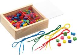 LENA Bastelset Holz-Fädelperlen inkl. Kiste, # ca. 2 cm, ab 3 Jahre