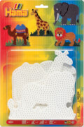 HAMA 4554 Bügelperlen Midi - 4er Set Stiftplatten im Blister - Elefant, Giraffe, Löwe, Kamel, ab 5 Jahren