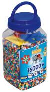 HAMA Bügelperlen Midi - Dose blau - 3 kleine Stiftplatten, 16000 Stück