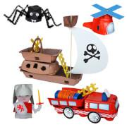 Re Cycle Me - Bastelspaß: Feuerwehrauto, Hubschrauber, Spinne, Ritter, Piratenschiff