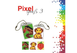 Pixel Spaß 3 Medaillon Hund, Pferd, Erdbeere