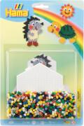 Hama® Bügelperlen Stiftplatten + Perlen Igel und Schildkröte 1.100 Stück