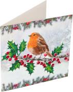 Crystal Art Grußkarte Rotkehlchen Weihnachten 18x18 cm