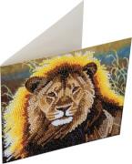 Crystal Art Grußkarte Ruhender Löwe 18x18 cm