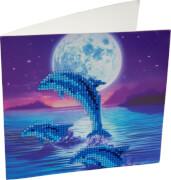 Crystal Art Grußkarte Delfine 18x18cm
