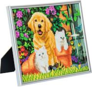 Crystal Art Bilderrahmen Katze und Hund 21x25cm