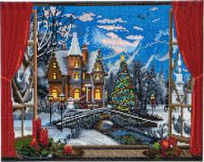 Crystal Art Leinwand weihnachtslicher Bergblick 40x50 cm