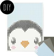 dot on art - DIY-Klebeposter, Bastelset, Stickerset - Motiv: Penguin, 30x40 cm