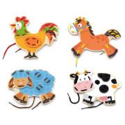 Viga Fädelspiel-Set Bauernhoftiere