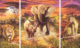 Simba Schipper Malen nach Zahlen - Tiere Afrikas (Triptychon) 50x80 cm